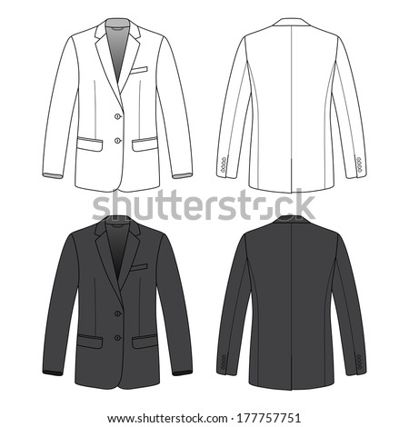 blank men's blazer in front and