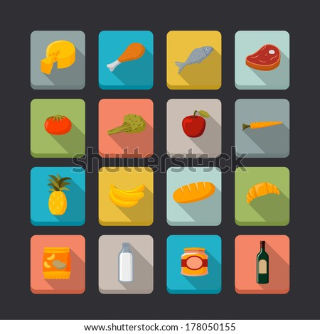 supermarket foods icons set of