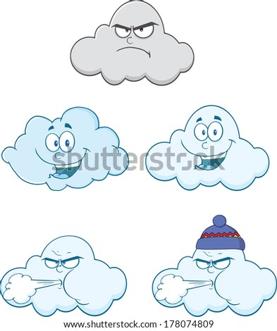 happy and angry clouds cartoon