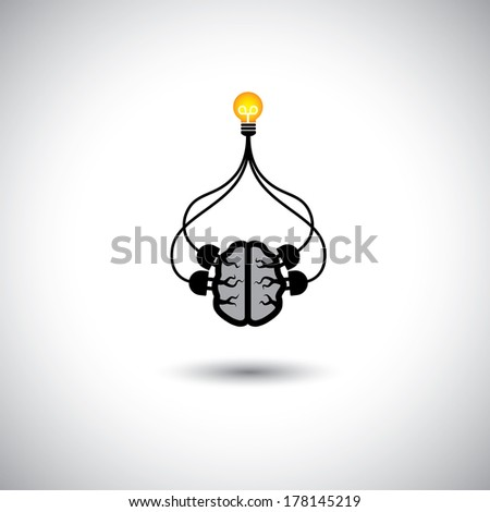 icon of bulb   brain connected