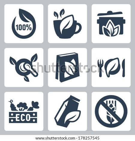 vector organic food icons set