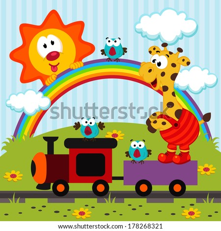 giraffe travels by train