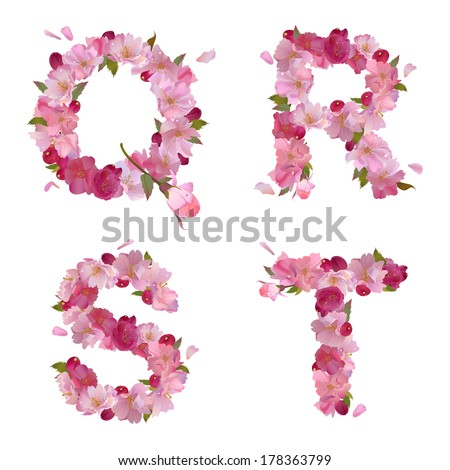 vector spring alphabet with