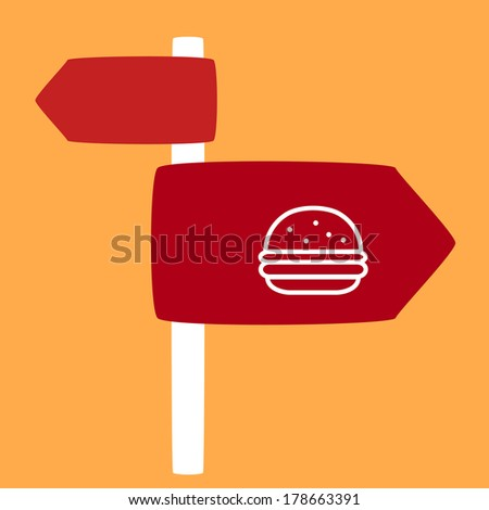 street sign with a burger