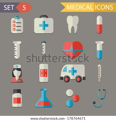 retro flat medical icons and
