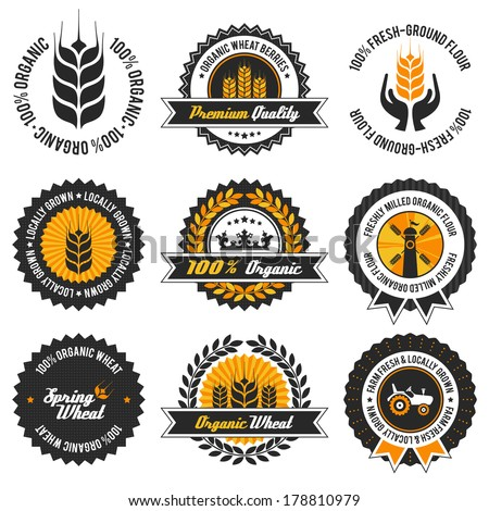 organic wheat label set with