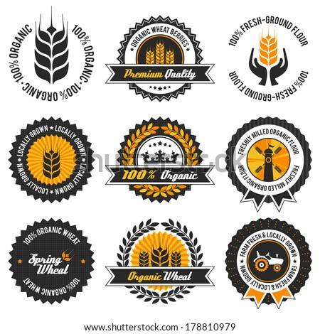 organic wheat label set with