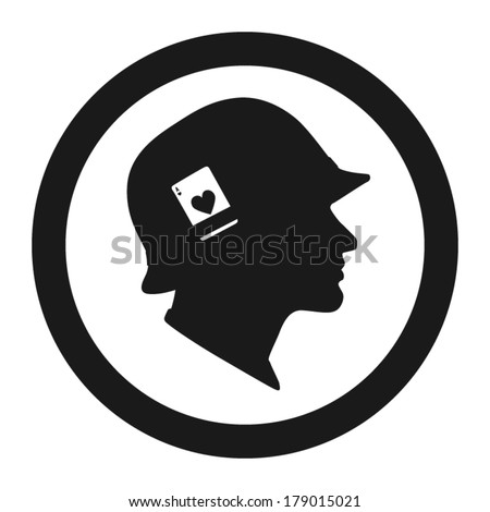 soldiers head with helmet and