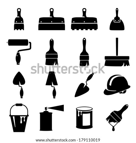 set of icons of tools on white