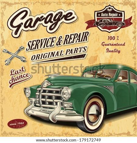 vintage garage retro banner