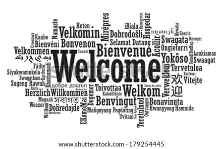 welcome tag cloud in vector