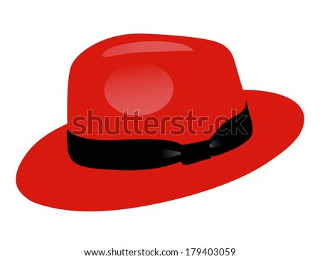 red fedora men hat  isolated on