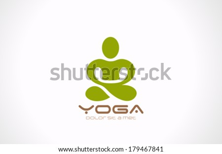 yoga pose vector logo design
