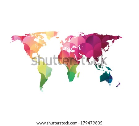 colorful mosaic world map