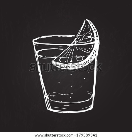 shot of drink hand drawn on the