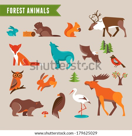 forest animals vector set of