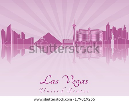 las vegas skyline in purple