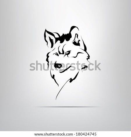 vector silhouette of a wolf's