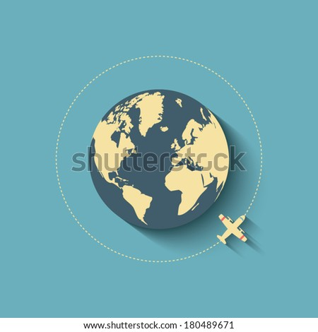 flight around the world concept