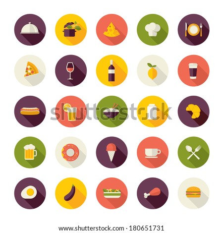 set of flat design icons for