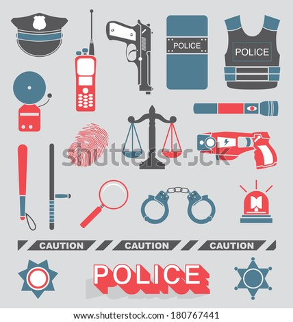 vector set  police officer and