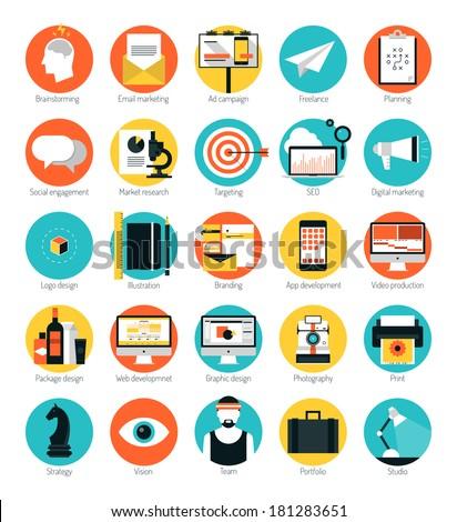 flat design icons set modern
