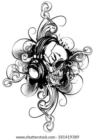vector illustration human skull