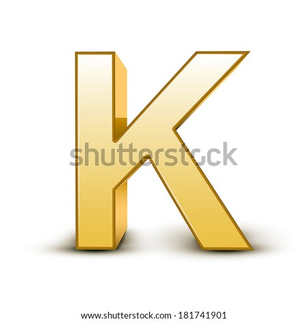 3d golden letter k isolated