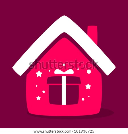 house with a gift box caring