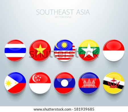 Southeast Asian Flag Southeast Asia Flag Icon Aec