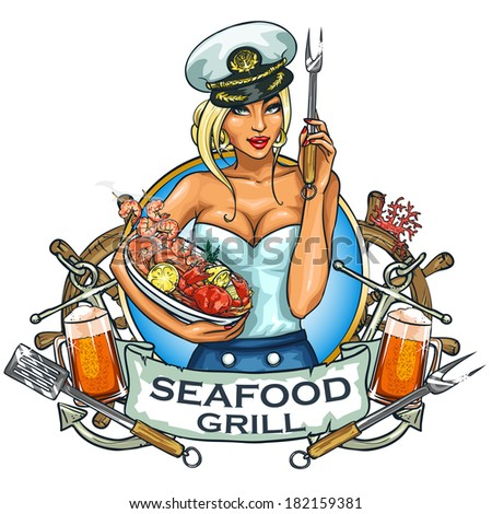 seafood grill label design with