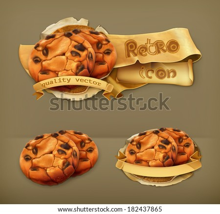 chocolate cookies  retro vector