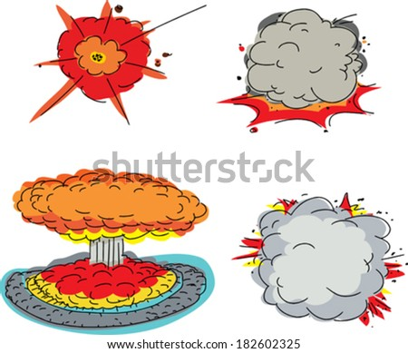 set of four cartoon explosions