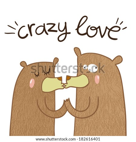 cute crazy bears in love are