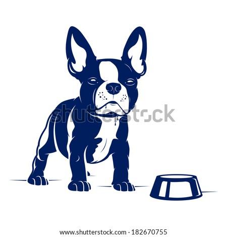 cartoon french bulldog vector