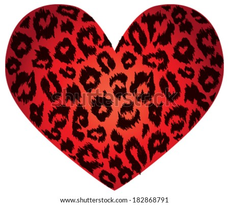 sexy red heart with leopard