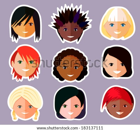 vector set of women's faces