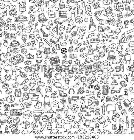 school seamless pattern in