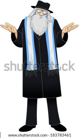 vector illustration of a rabbi