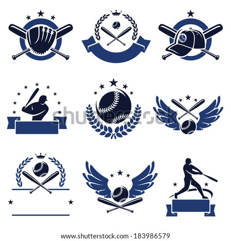 baseball labels and icons set