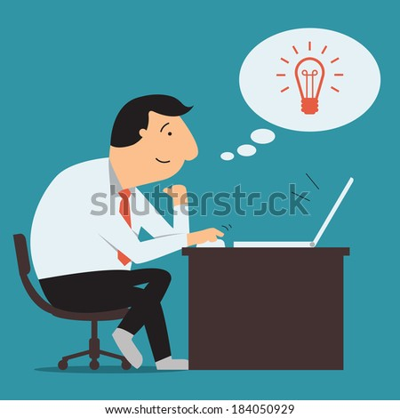 businessman sitting and using