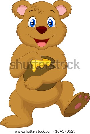 cute cartoon bear holding honey