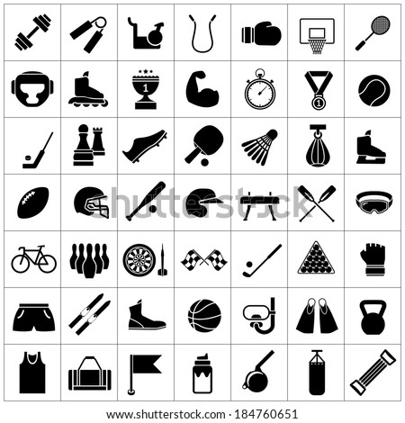 set icons of sports and fitness