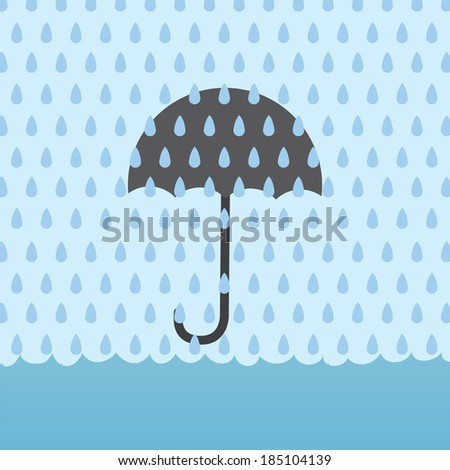 umbrella behind rain storm and