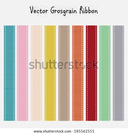 set of nine pastel grosgrain