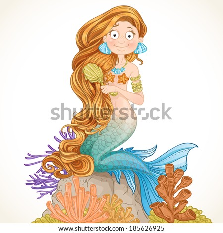 lovely mermaid combing her long