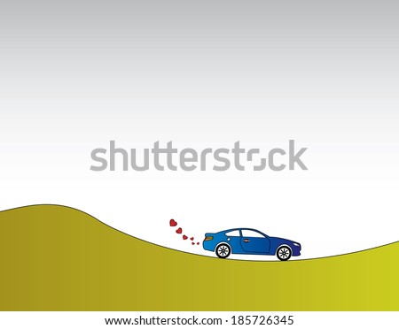 blue car with heart shaped