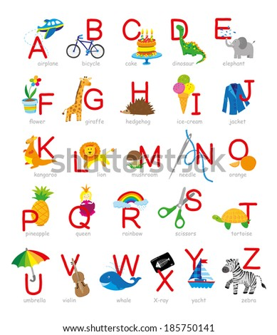 kids alphabet with hand drawn