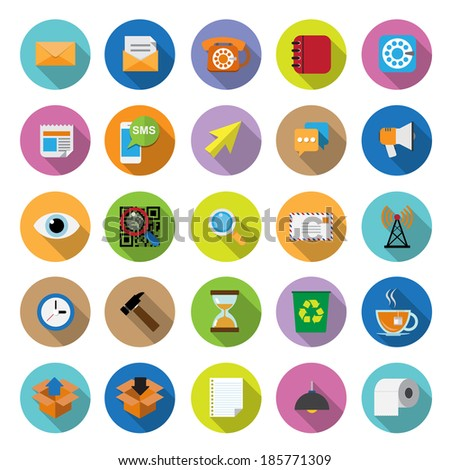 flat icons collection with long