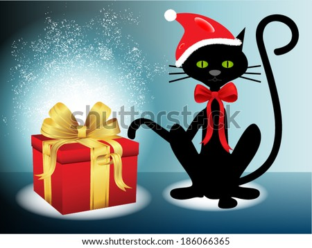 christmas gift with black cat